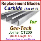 Set of 4 Carbide Blades for Gee-Tech 8'' Jointer, CT200