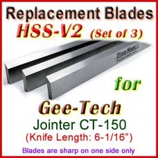 Set of 3 HSS Blades for Gee-Tech 6'' Jointer, CT-150