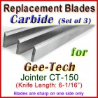 Set of 3 Carbide Blades for Gee-Tech 6'' Jointer, CT-150