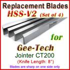 Set of 4 HSS Blades for Gee-Tech 8'' Jointer, CT200