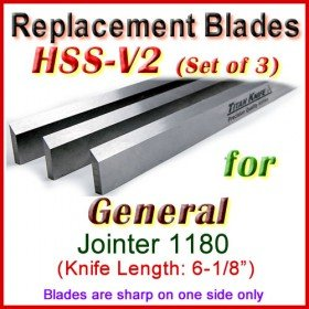 Set of 3 HSS Blades for General 6'' Jointer, 1180