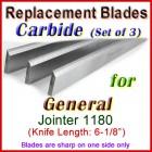 Set of 3 Carbide Blades for General 6'' Jointer, 1180