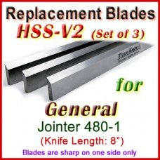 Set of 3 HSS Blades for General 8'' Jointer, 480-1