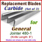 Set of 3 Carbide Blades for General 8'' Jointer, 480-1