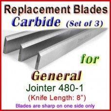 Set of 3 Carbide Blades for General 8'' Jointer, 480-1