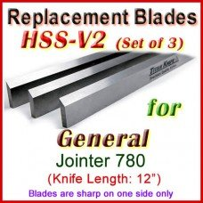 Set of 3 HSS Blades for General 12'' Jointer, 780