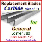 Set of 3 Carbide Blades for General 12'' Jointer, 780