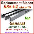 Set of 3 HSS Blades for General 6'' Jointer, 80-050
