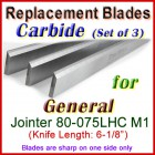 Set of 3 Carbide Blades for General 6'' Jointer, 80-075LHC M1