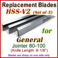 Set of 3 HSS Blades for General 6'' Jointer, 80-100