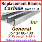 Set of 3 Carbide Blades for General 6'' Jointer, 80-100