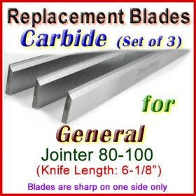 Set of 3 Carbide Blades for General 6'' Jointer, 80-100