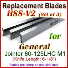 Set of 3 HSS Blades for General 6'' Jointer, 80-125LHC M1