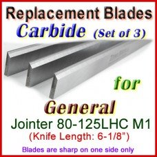 Set of 3 Carbide Blades for General 6'' Jointer, 80-125LHC M1