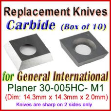 Box of 10 Carbide Insert knives for General International Planer, 30-005HC- M1