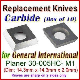Box of 10 Carbide Insert knives for General International Planer, 30-005HC- M1