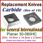 Box of 10 Carbide Insert knives for General International Planer, 30-060HC