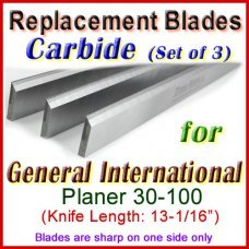 Set of 3 Carbide Blades for General International 13'' Planer, 30-100