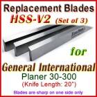 Set of 4 HSS Blades for General International 20'' Planer, 30-300