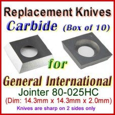 Set of 10 HSS Blades for General International 6'' Jointer, 80-025HC