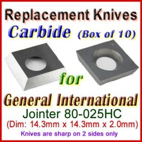 Set of 10 Carbide Blades for General International 6'' Jointer, 80-025HC