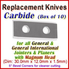 Box of 10 Knives for All General & General International Machines with Magnum Head