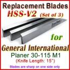 Set of 3 HSS Blades for General International 15'' Planer, 30-115M1
