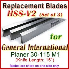 Set of 3 HSS Blades for General International 15'' Planer, 30-115M1