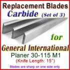 Set of 3 Carbide Blades for General International 15'' Planer, 30-115M1