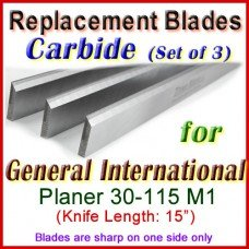 Set of 3 Carbide Blades for General International 15'' Planer, 30-115M1
