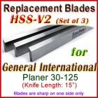Set of 3 HSS Blades for General International 15'' Planer, 30-125