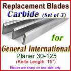 Set of 3 Carbide Blades for General International 15'' Planer, 30-125