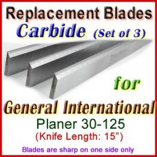Set of 3 Carbide Blades for General International 15'' Planer, 30-125