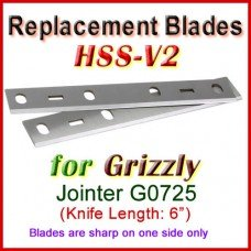 Set of 2 HSS Blades for Grizzly 6'' Jointer, G0725