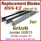 Set of 3 HSS Blades for Grizzly 6'' Jointer, G0813