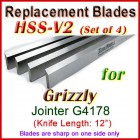 Set of 4 HSS Blades for Grizzly 12'' Jointer, G4178