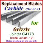 Set of 4 Carbide Blades for Grizzly 12'' Jointer, G4178