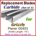 Set of 3 Carbide Blades for Grizzly 15'' Planer, G0453
