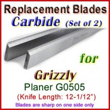 Set of 2 Carbide Blades for Grizzly 12-1/2'' Planer, G0505