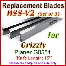 Set of 3 HSS Blades for Grizzly 15'' Planer, G0551