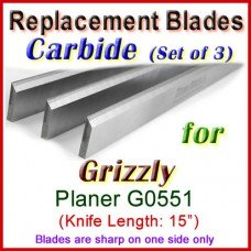 Set of 3 Carbide Blades for Grizzly 15'' Planer, G0551