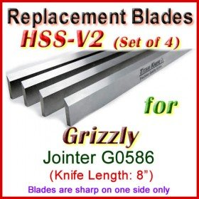 Set of 4 HSS Blades for Grizzly 8'' Jointer, G0586