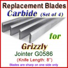 Set of 4 Carbide Blades for Grizzly 8'' Jointer, G0586