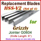 Set of 4 HSS Blades for Grizzly 6'' Jointer, G0604