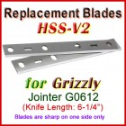 Set of 2 HSS Blades for Grizzly 6'' Jointer, G0612