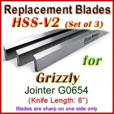 Set of 3 HSS Blades for Grizzly 6'' Jointer, G0654