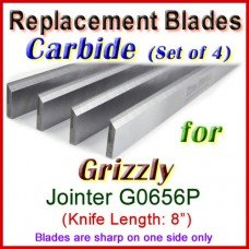 Set of 4 Carbide Blades for Grizzly 8'' Jointer, G0656P