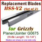 Set of 2 HSS Blades for Grizzly 10'' Jointer, G0675