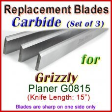 Set of 3 Carbide Blades for Grizzly 15'' Planer, G0815