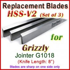 Set of 3 HSS Blades for Grizzly 8'' Jointer, G1018